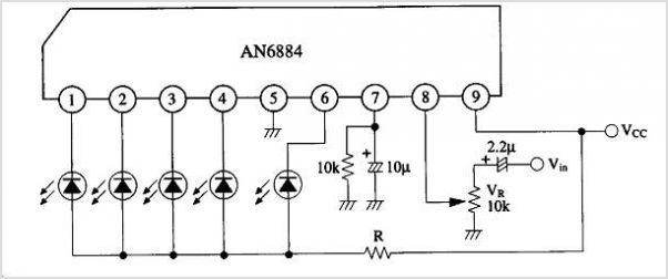 Simple Vu-Meter (AN6884) and AMP (LM386)