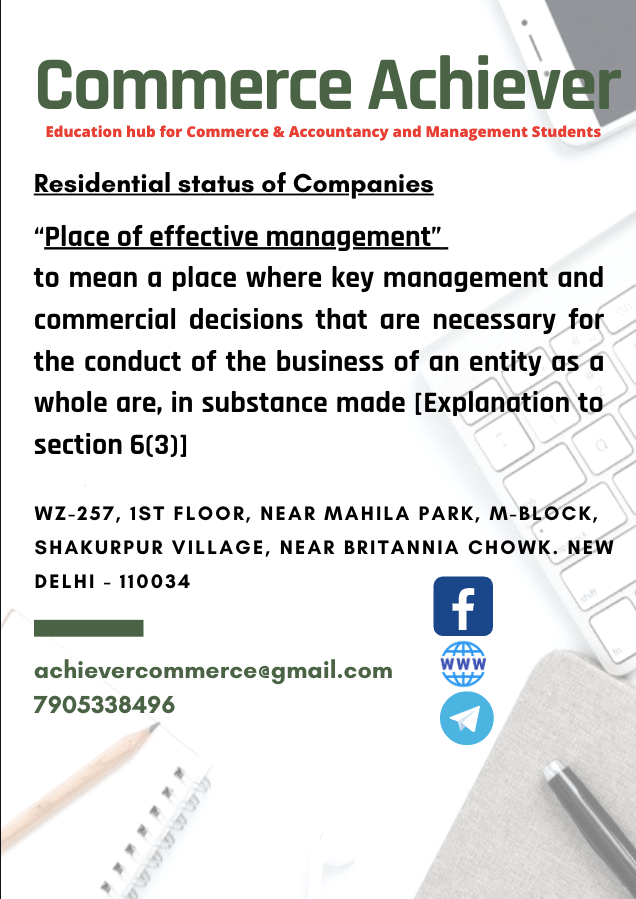 """Residential status of Companies- """"Place of effective management"""""""