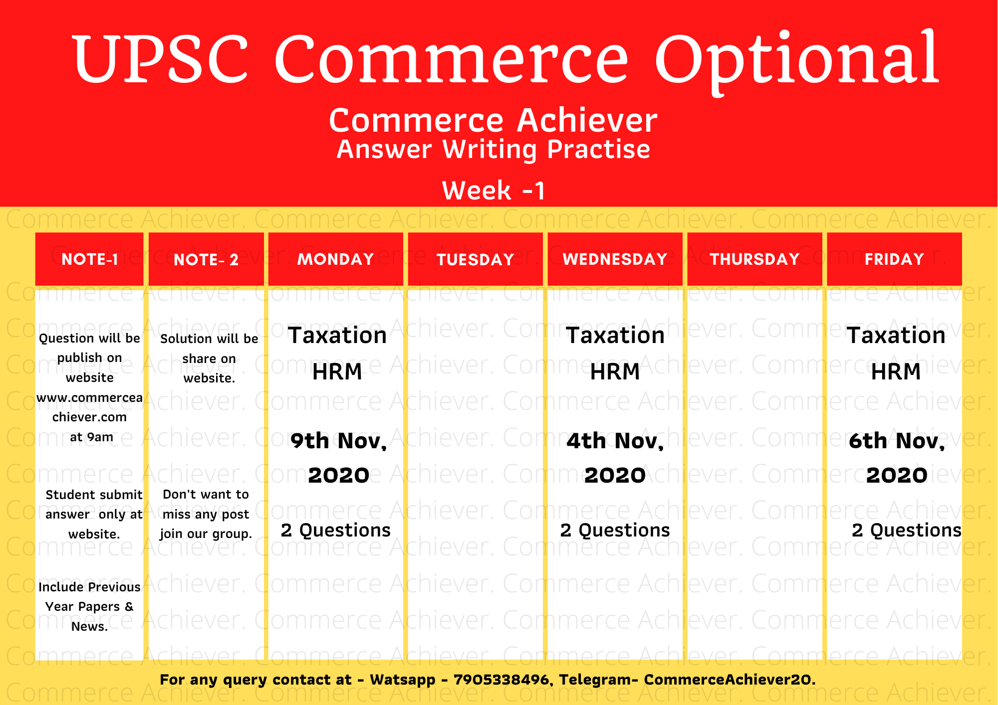 UPSC Commerce Optional – Answer Writing Practise – Week -1 Schedule
