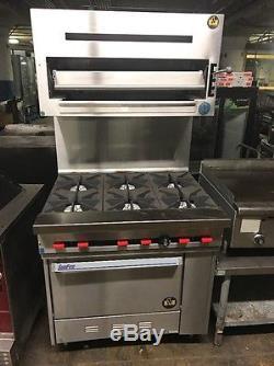 kitchen countertop shelf electric stove us range 6 burner with salamander