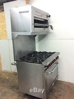 kitchen salamander gray glass subway tile backsplash vulcan v36 commercial 6 burner nat gas range with oven and ...