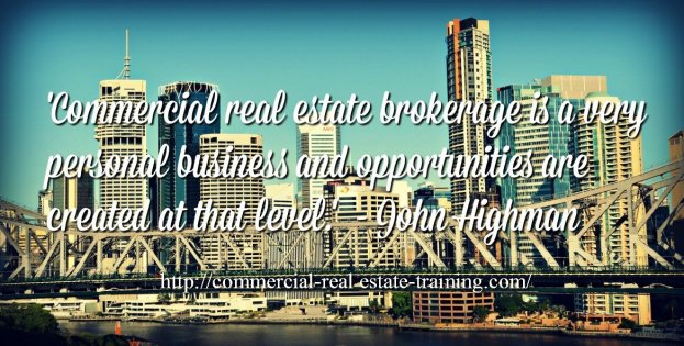 city scene with commercial broker quote over