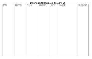 prospecting and canvassing register