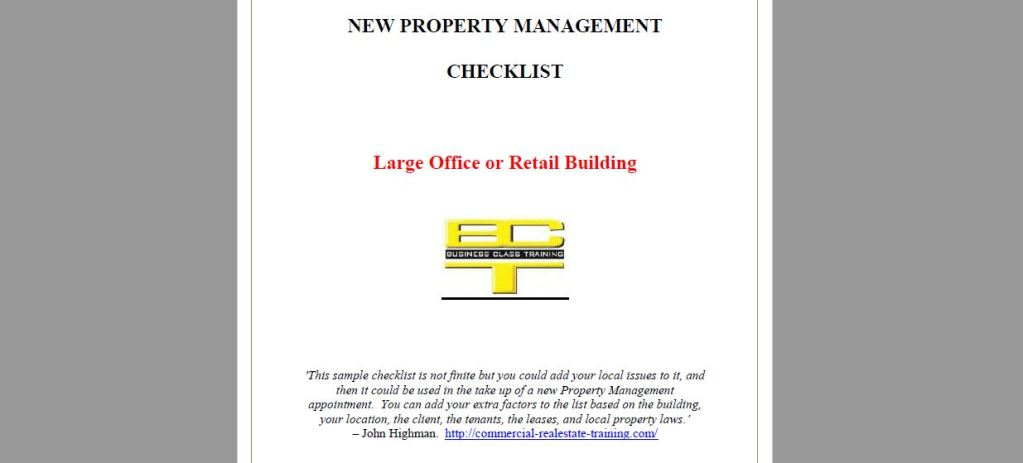 Commercial Property Management Handover Checklist Format