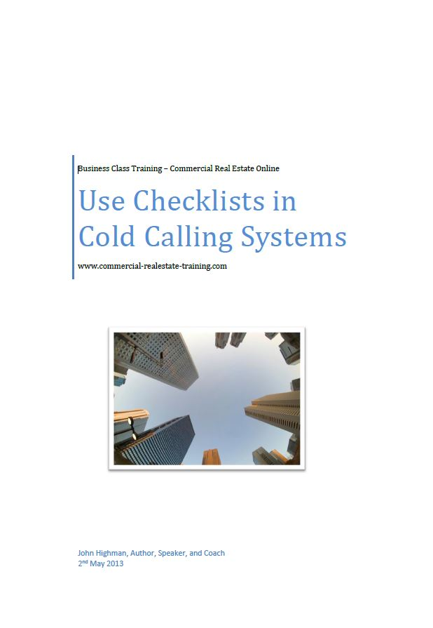 cold calling checklist for commercial real estate brokers