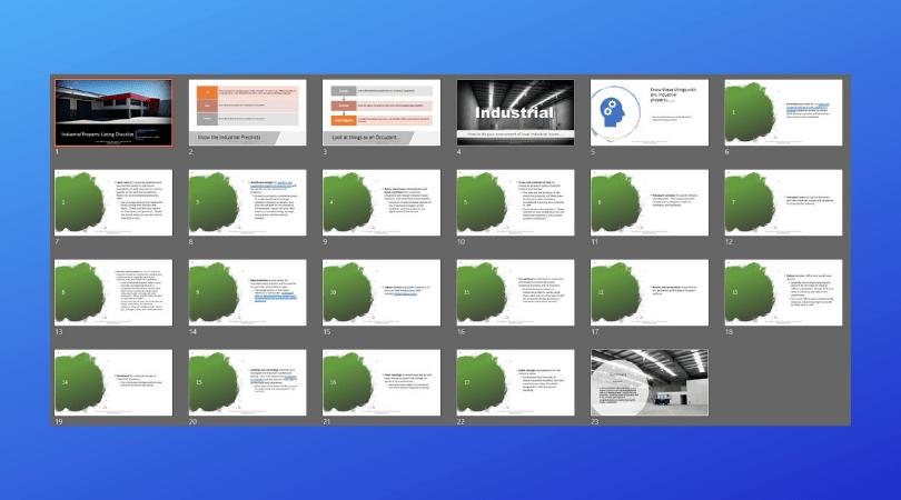 industrial property checklist slide deck