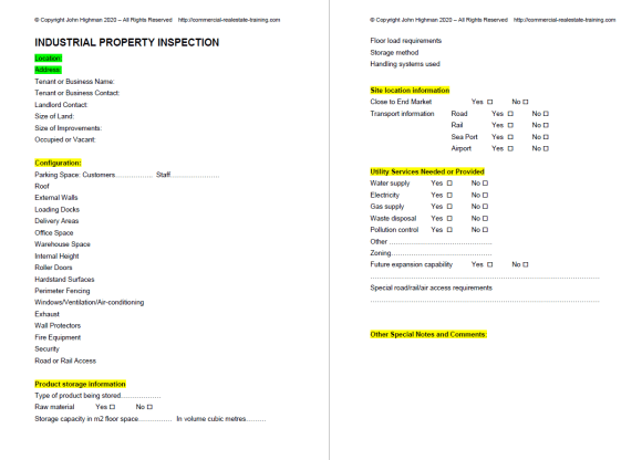 industrial property form for use by Agents