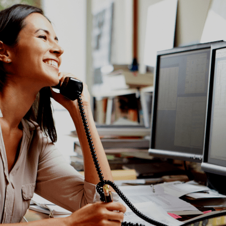 commercial property manager on telephone