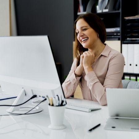 woman using computer screen