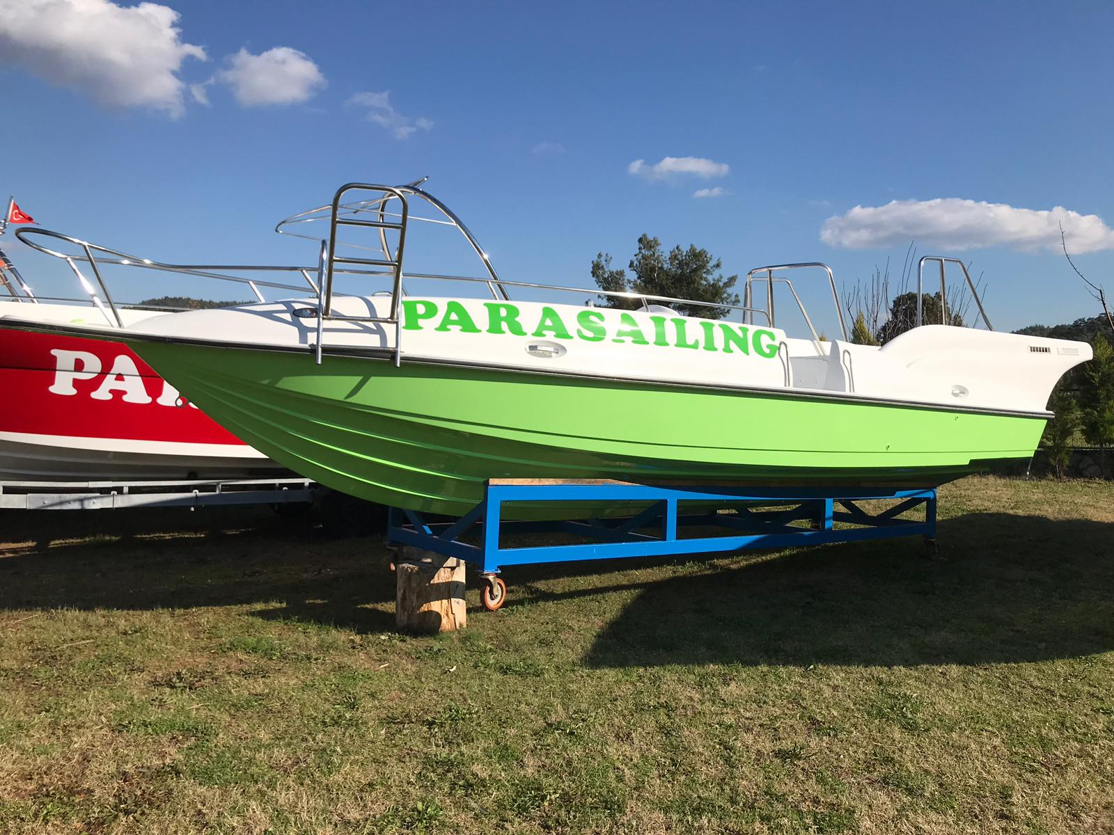 Used parasailing green hull