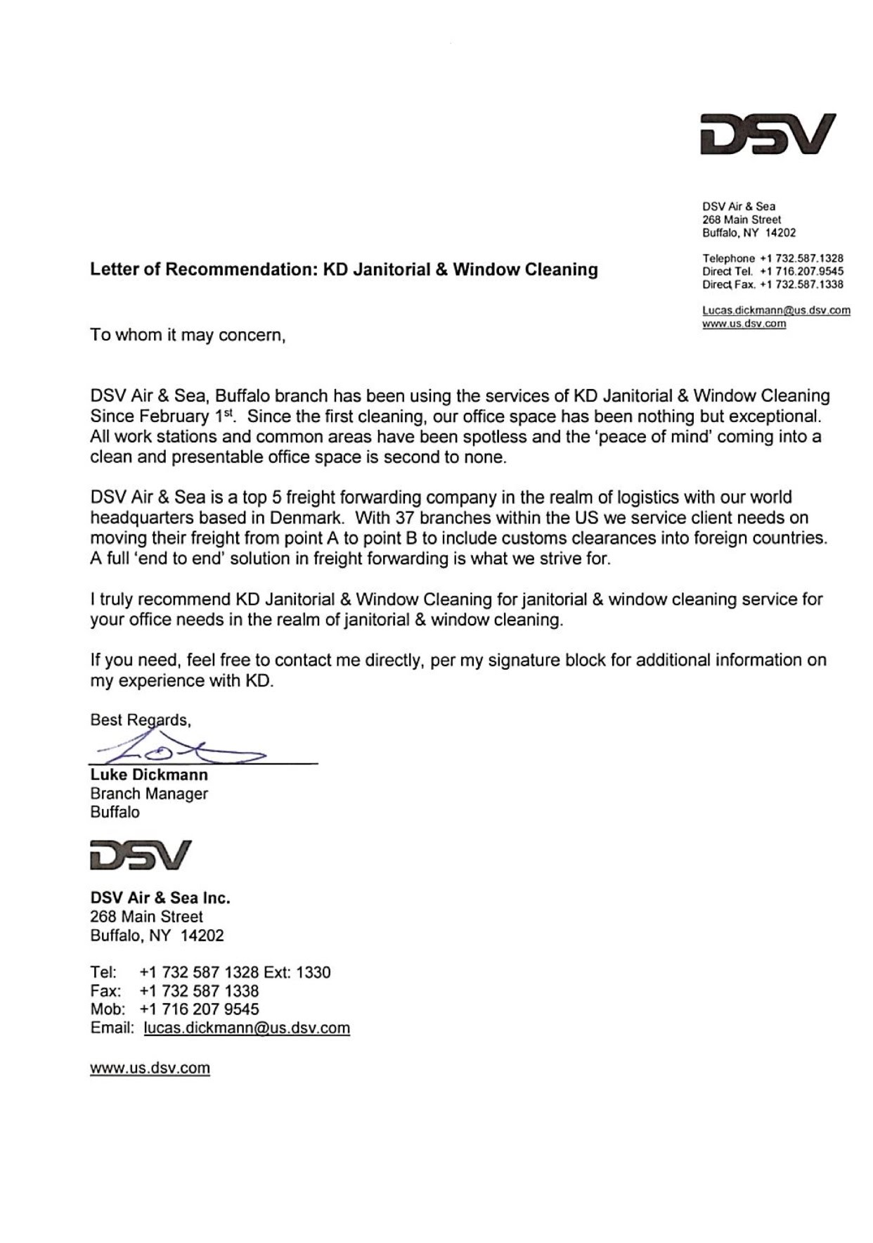 letter of recommendation for cleaning company