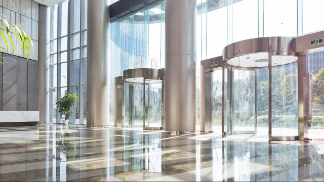 Quality janitorial services create attractive commercial building lobbies and entrances