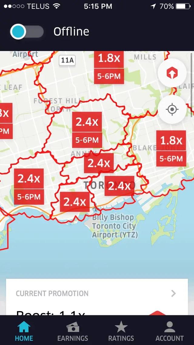 UberEATS app showing the boost zones