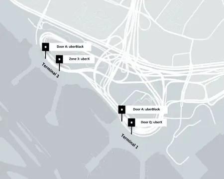 Uber Black Toronto Airport Pick ups map