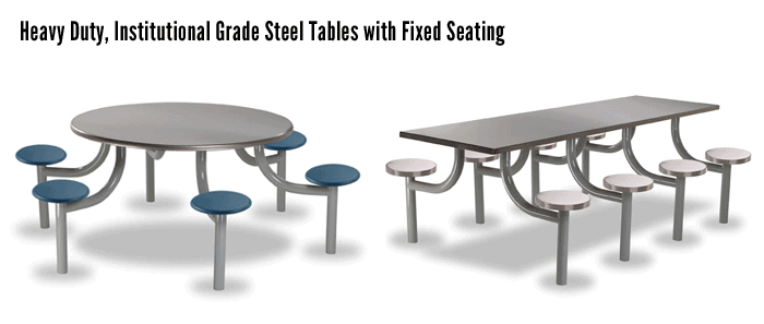 Heavy Duty, Institutional Grade Steel Tables with Fixed Seating