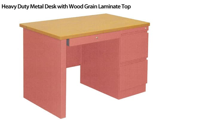 Heavy-Duty-Metal-Desk-with-Wood-Grain-Laminate-Top
