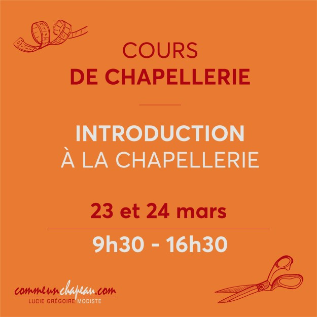 Cours d'Introduction à la chapellerie