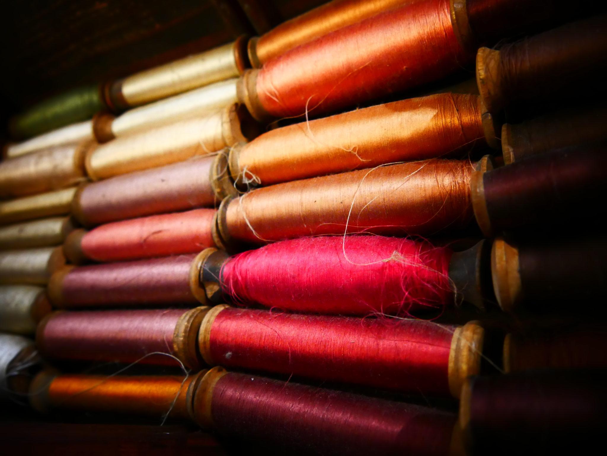 Canettes utilisées dans les métiers à tisser