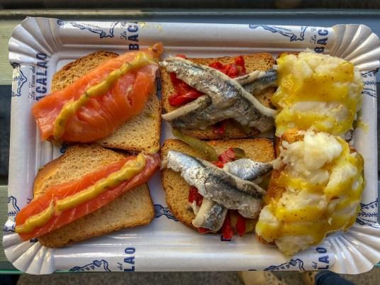 Tapas : saumon, sardine, morue sauce moutarde et miel