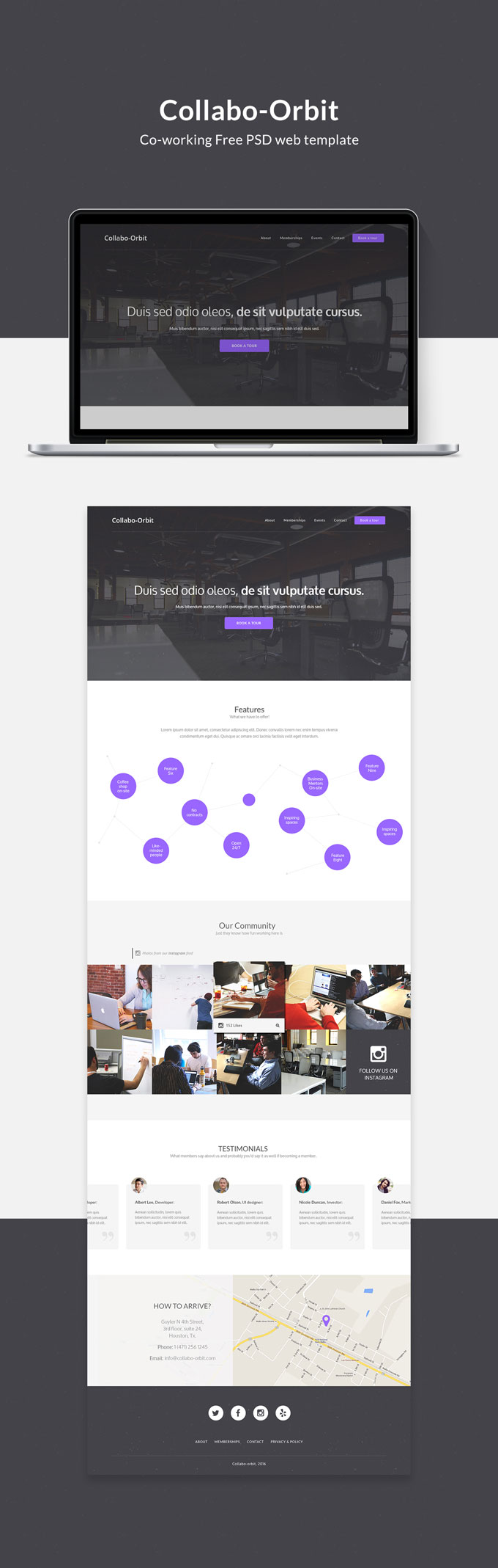 Collabo-Orbit - Coworking free PSD web template - Commit 2 Design