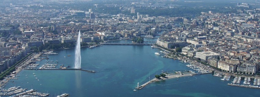 Bird's view over Geneva. Keep reading to find out more about trading jobs in Switzerland.