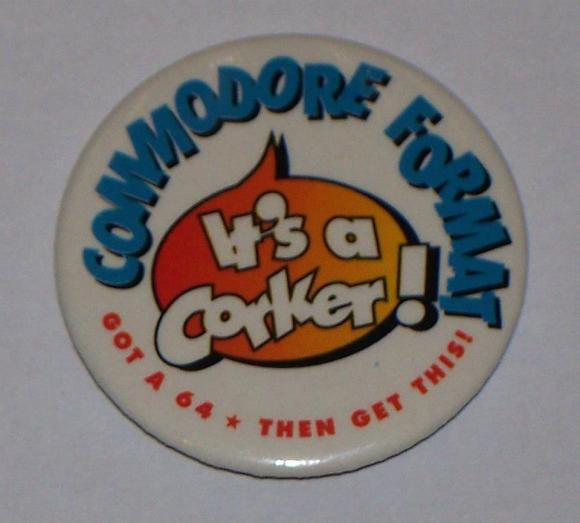 Not many of these seem to have survived. A Commodore Format badge, from christmas 1990 (CF4). PHOTO CREDIT: Frank Gasking.