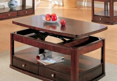 Pie Shape Lift Top Coffee Table Coaster Storage Drawers