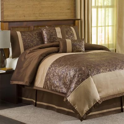 Lush Decor Metallic Animal Full 6pc Comforter Set BrownGold  Queen and King Size Bedroom Sets
