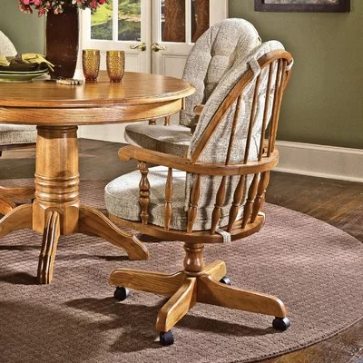 Cochrane Thresher's Too Bow Back Caster Chair in Distressed Antique Oak Cushion Fabric: Bamboo ...