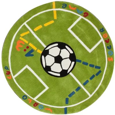 nuLOOM KinderLOOM Soccer Field Green Kids Rug