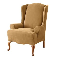 Sure Fit Wing Chair Cover Black Covers Party City Stretch Pique Slipcover Ebay