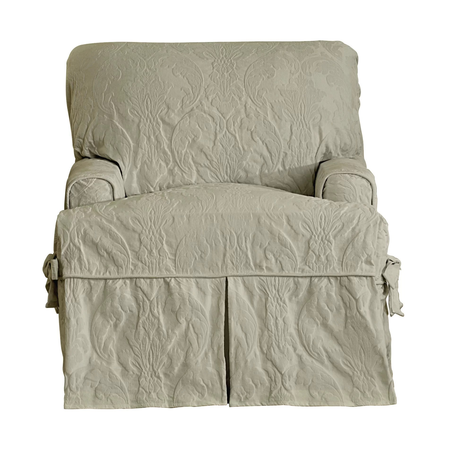 Chair Slipcovers T Cushion Sure Fit Matelasse Damask Chair T Cushion Slipcover Ebay