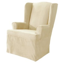 Slipcovers For Wingback Chairs With T Cushion 2nd Row Captains Sure Fit Soft Suede Wing Chair Slipcover Ebay