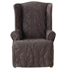 Wingback Chair Slipcover Pattern Fishing With Cooler Sure Fit Matelasse Damask Wing Ebay