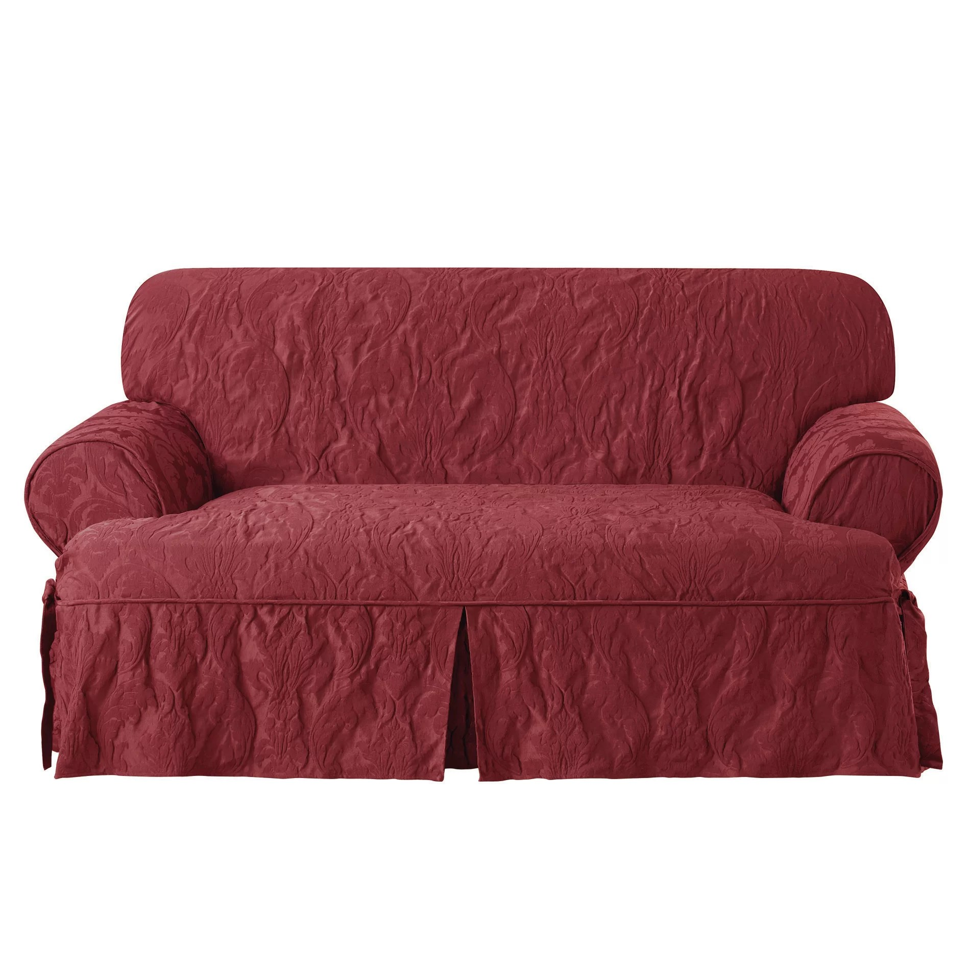 sure fit durham one piece sofa slipcover double bed beds matelasse damask loveseat t cushion