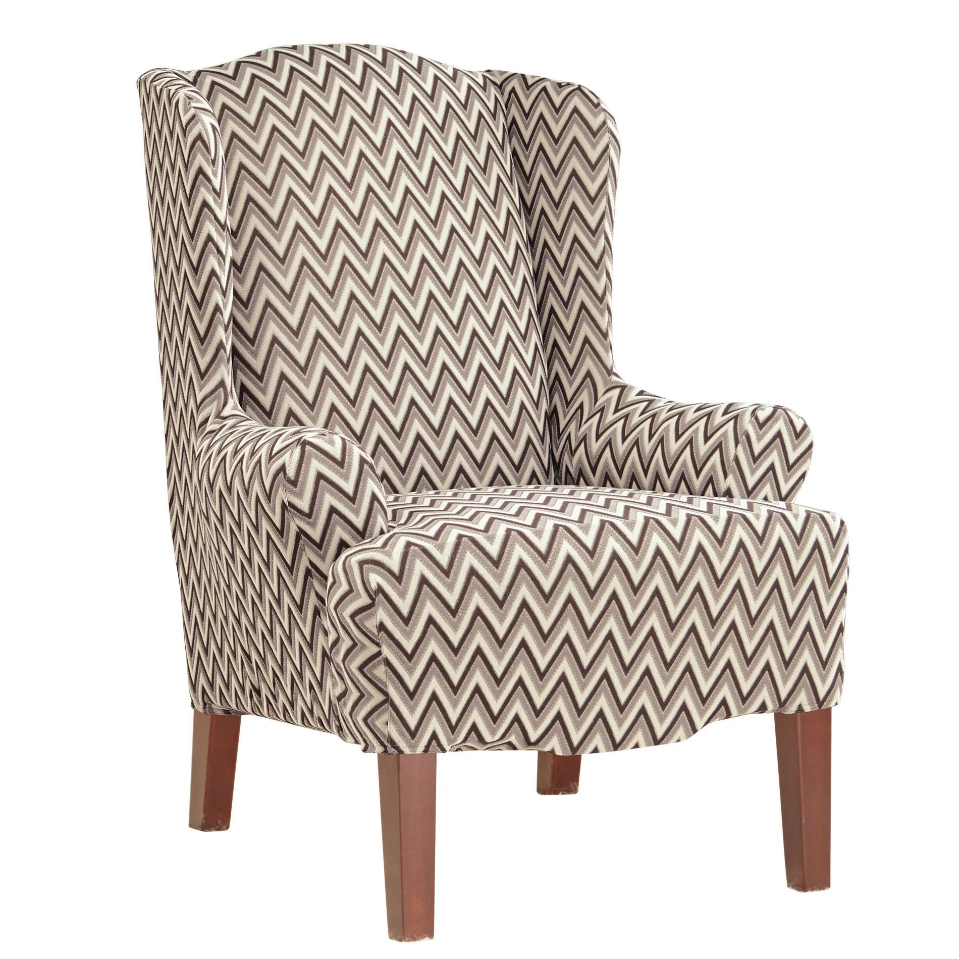 Wing Chair Slipcover Sure Fit Stretch Chevron Wing Chair Slipcover Ebay