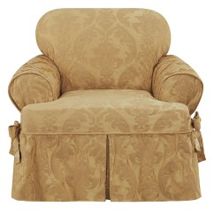 Chair Slipcover T Cushion Side Table With Storage Sure Fit Matelasse Damask Ebay