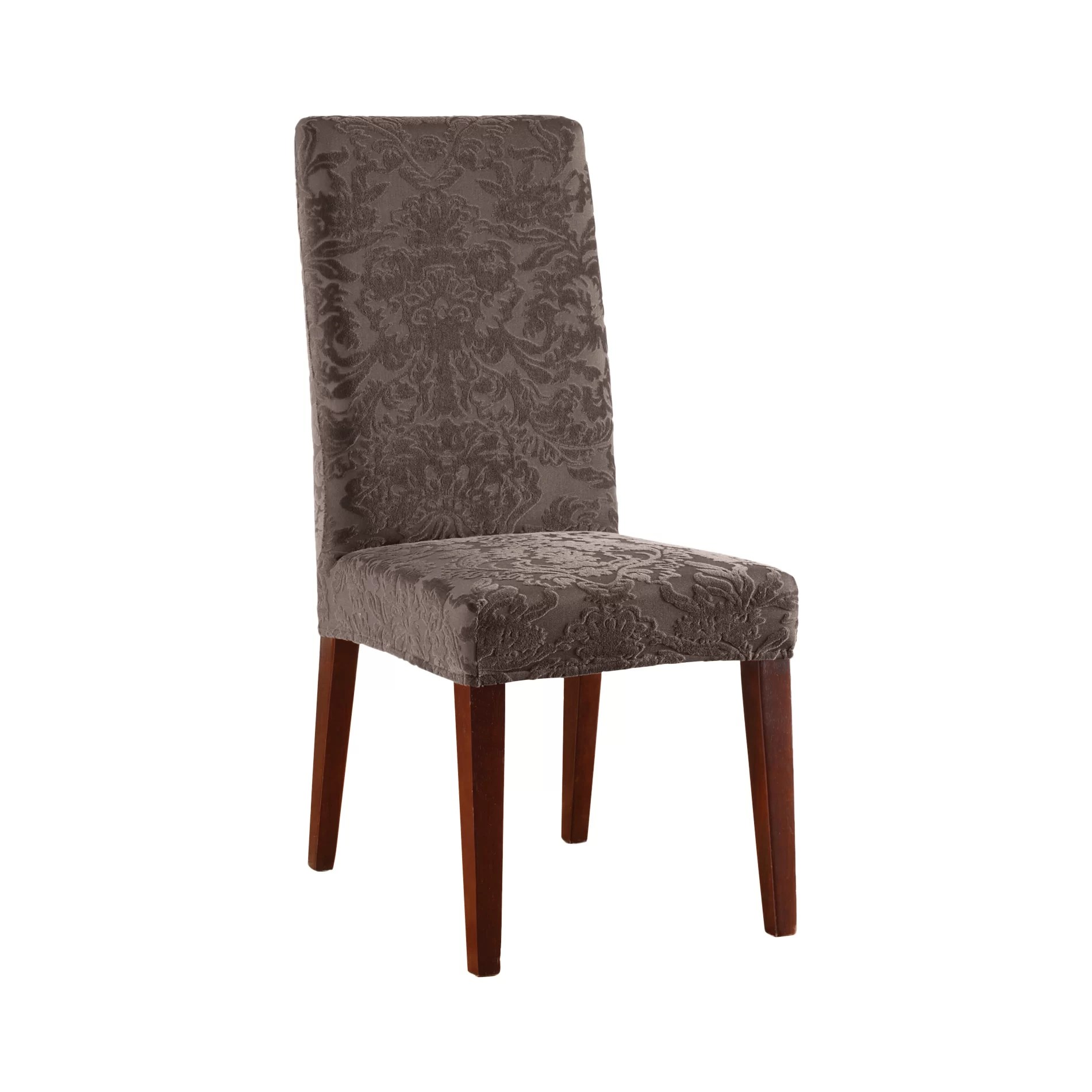 sure fit parsons chair slipcovers dining covers belfast stretch jacquard damask slipcover ebay