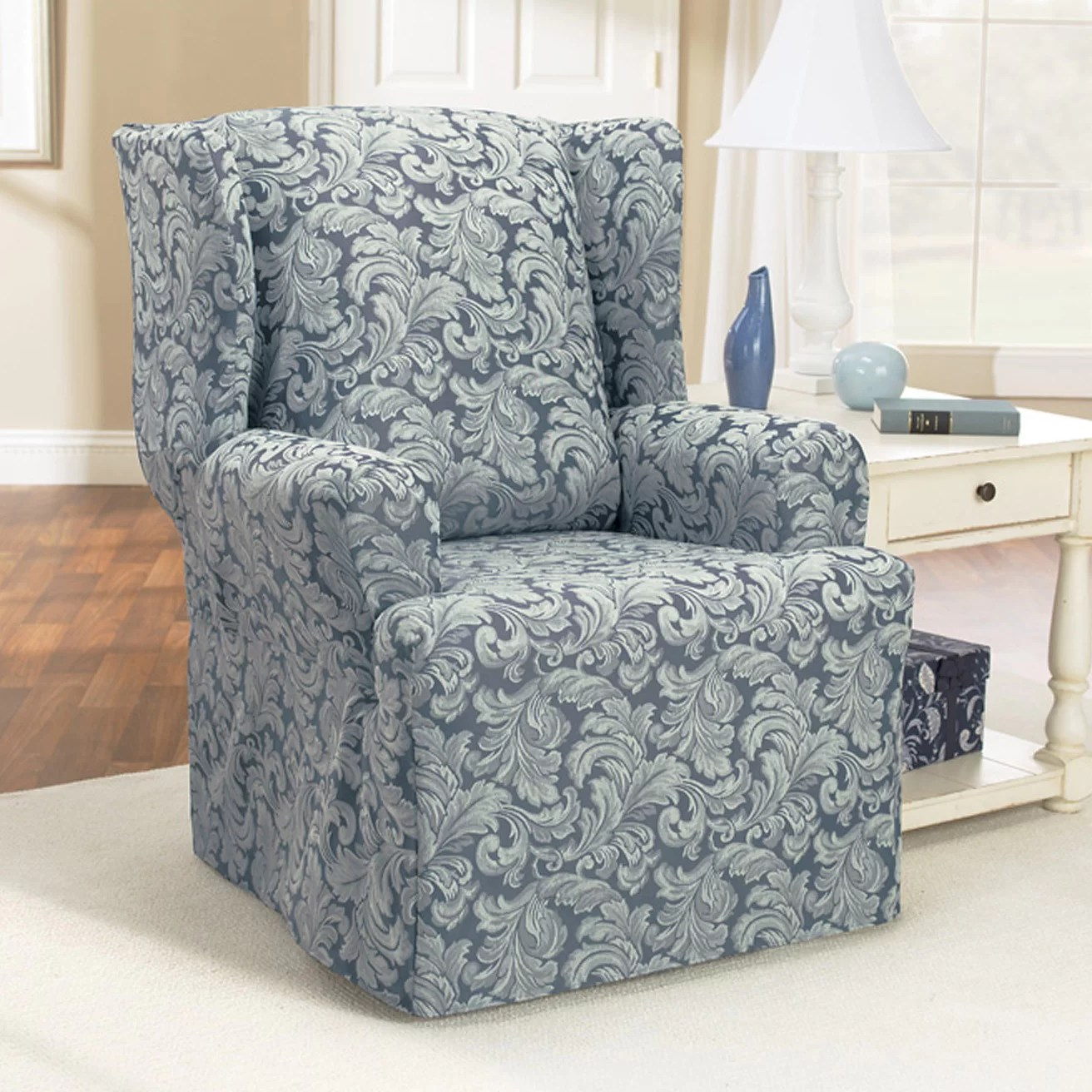 Chair Slipcovers T Cushion Sure Fit Scroll Classic Wing Chair T Cushion Skirted