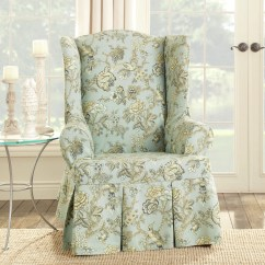 Slipcovers For Wingback Chairs With T Cushion Wooden Baby Doll High Chair Plans Sure Fit Casablanca Rose Wing Slipcover Ebay