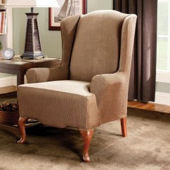 Slip Cover For Wing Chair Folding Ebay Uk Sure Fit Stretch Stripe Wingback T Cushion Slipcover