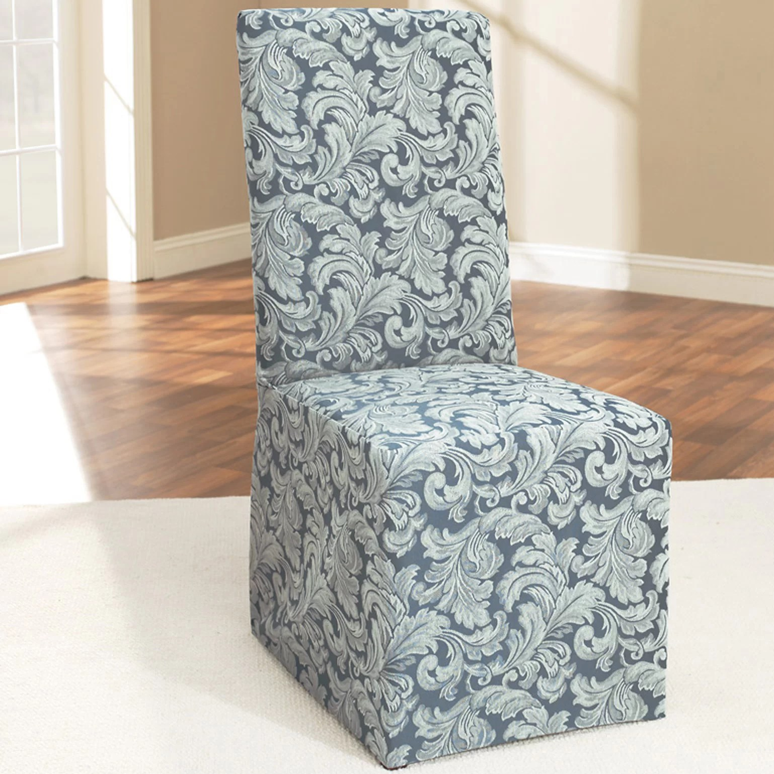 dining room chair covers ebay inexpensive kitchen chairs sure fit scroll classic skirted slipcover