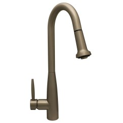 Gooseneck Kitchen Faucet With Pull Out Spray Grey Countertops Whitehaus Collection Jem Single Handle