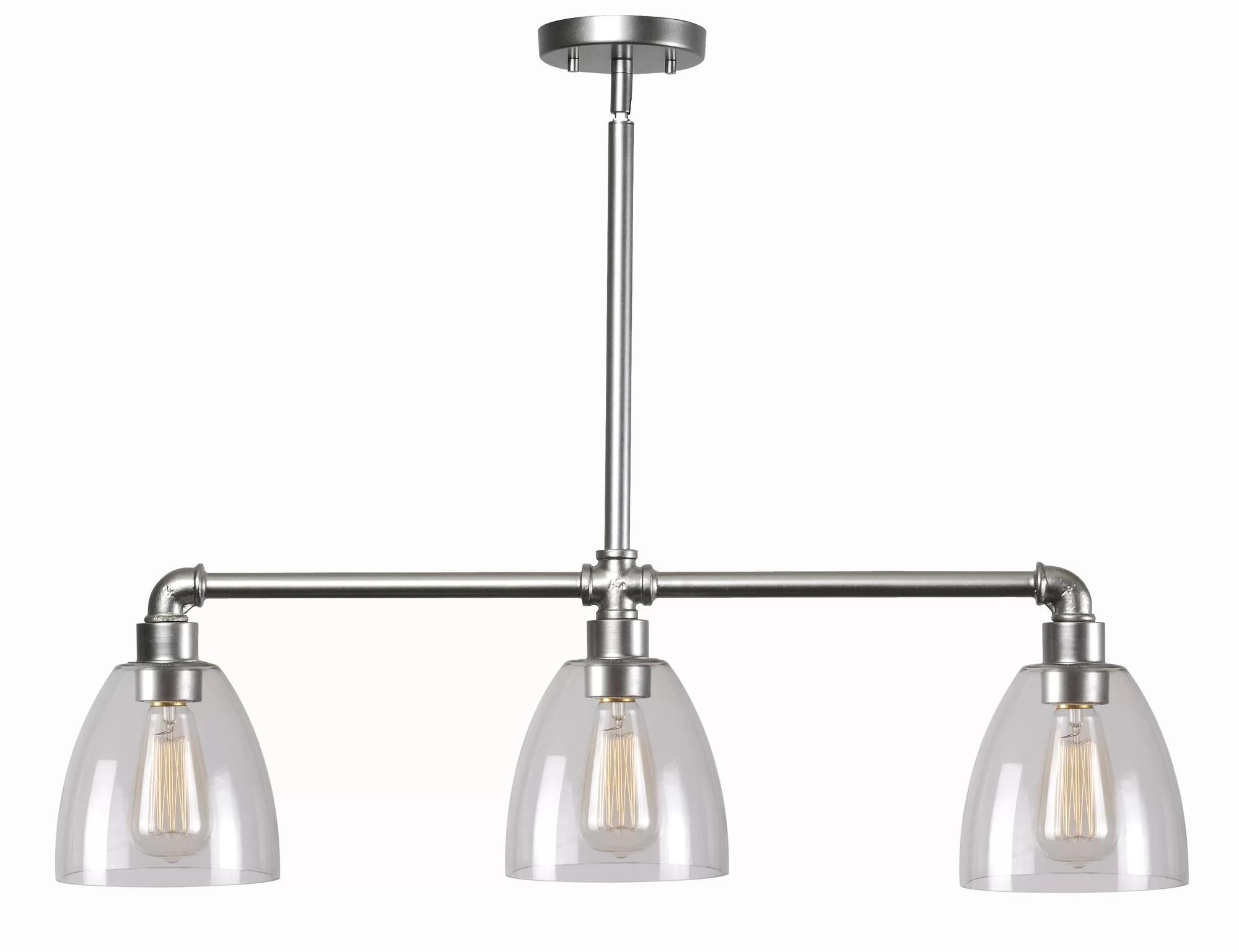 3 light kitchen island pendant danze faucet wildon home  industrial fitter