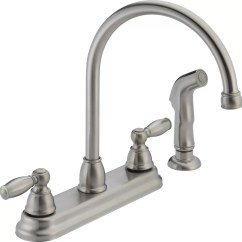 Kitchen Faucet With Side Sprayer Natural Maple Cabinets Peerless Faucets Two Handle Centerset