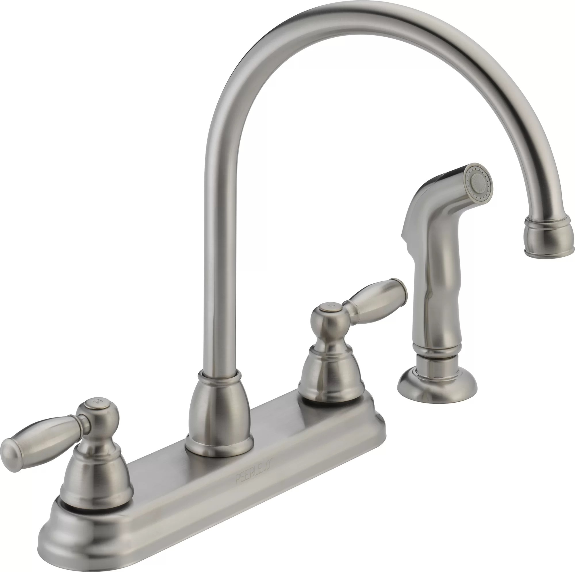 kitchen faucet with side spray contemporary designs peerless faucets two handle centerset