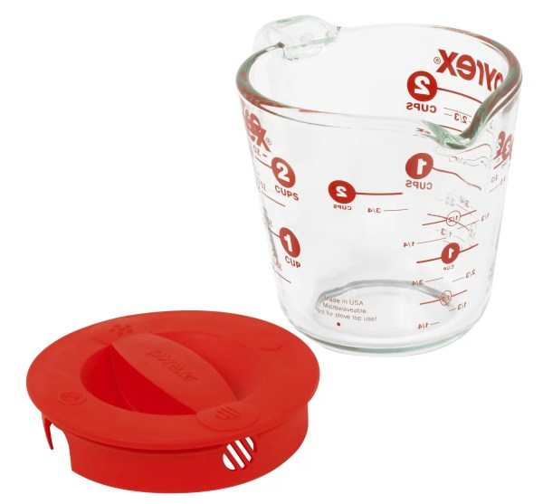 Pyrex Prepware 2 Cup Measuring Cup with Red Plastic Cover
