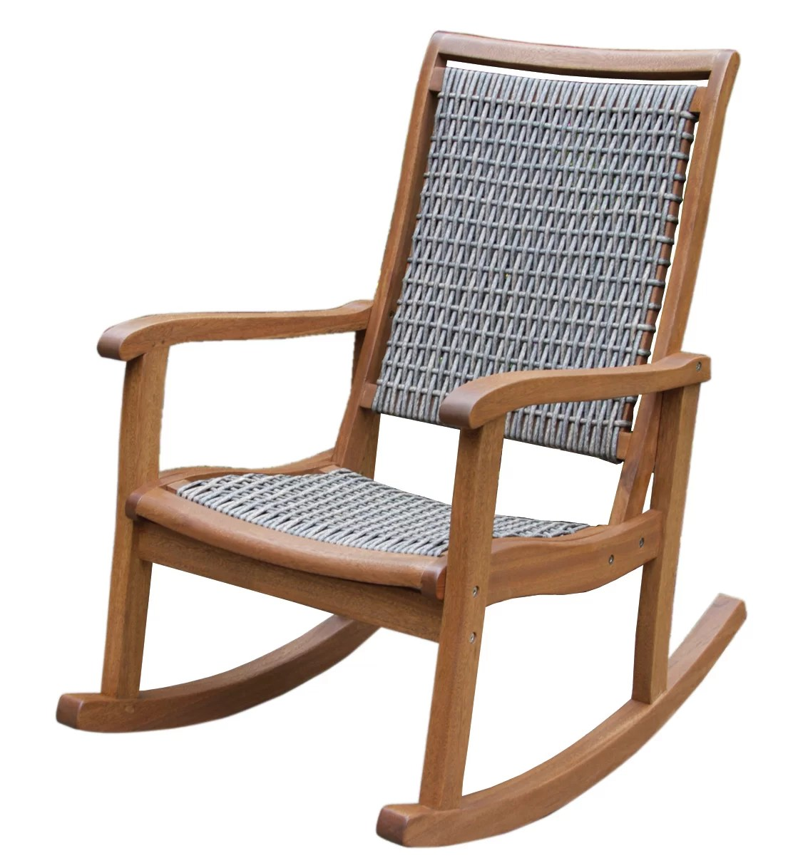 Black Wicker Rocking Chairs Outdoor Interiors Resin Wicker And Eucalyptus Rocker Chair