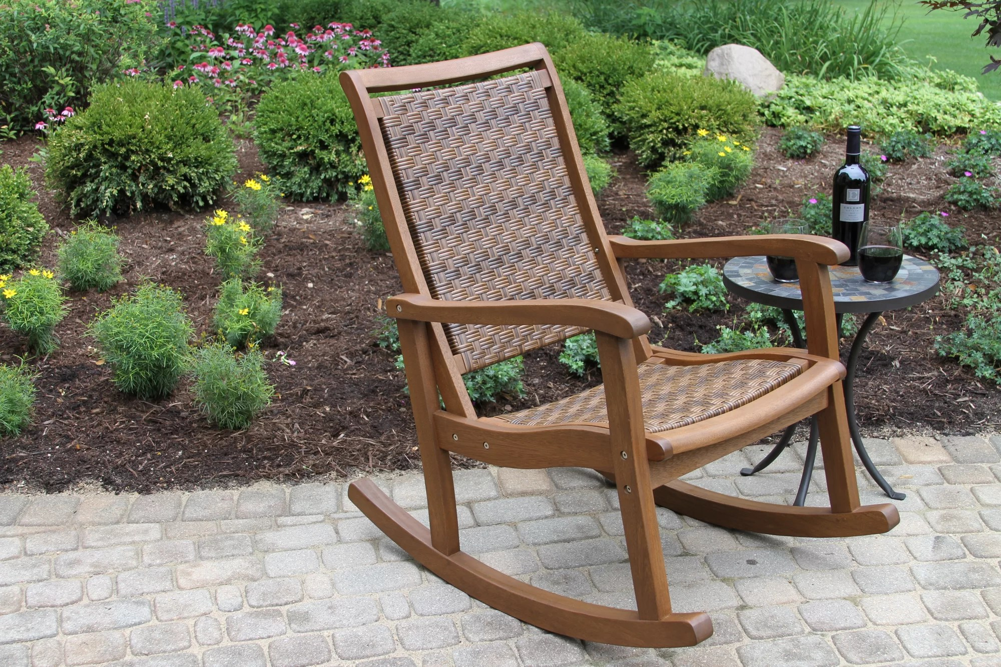 Resin Wicker Rocking Chair Outdoor Interiors Resin Wicker And Eucalyptus Rocker Chair