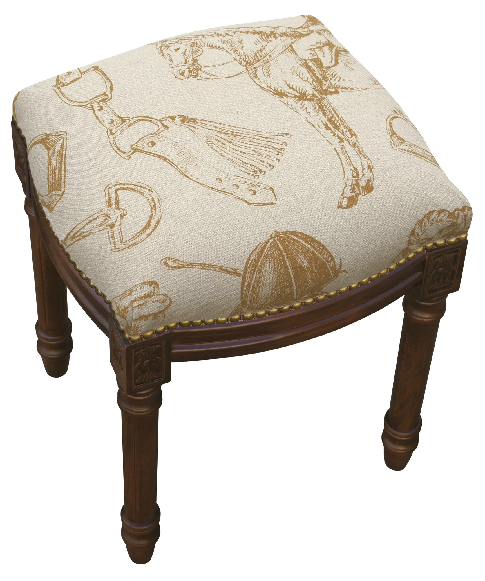 Upholstered Vanity Chair 123 Creations Equestrian Linen Upholstered Vanity Stool